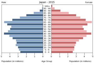population pyramid of Japan in 2015